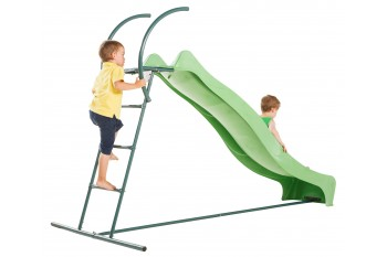 2.9m HDPE Tsuri free standing slide with 1.5m high ladder kit and water feature  -  LIME