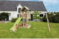 2.9m HDPE 'Tsuri' free standing slide with1.5m high ladder kit and water feature  - GREEN