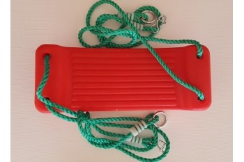 Hollow Moulded Swing Seat RED PP GREEN Rope
