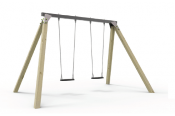 Double Swing Set KBT- In Ground - Steel Top Beam & Cypress Legs