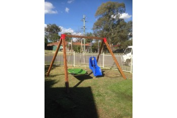 Double Swing Set - Free Standing - Oblique Corners RED
