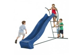 2.9m HDPE Tsuri free standing slide with 1.5m high ladder kit and water feature  -  BLUE