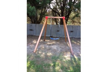 Single Swing Set - Free Standing - Oblique Corners RED