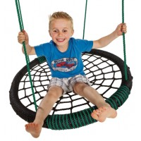 Nest Swing 'Oval' with adjustable Ropes  (sensory swing) - Black/Green