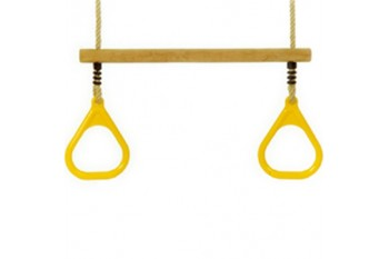 Trapeze Bar With Triangle Grips and Ropes YELLOW