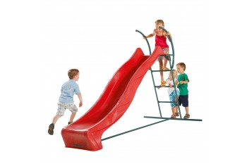 2.9m HDPE Tsuri free standing slide with 1.5m high ladder kit and water feature - RED