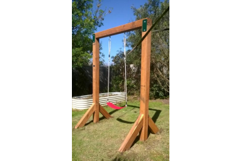 Single Swing Set - In Ground - GREEN Steel Corner Plates