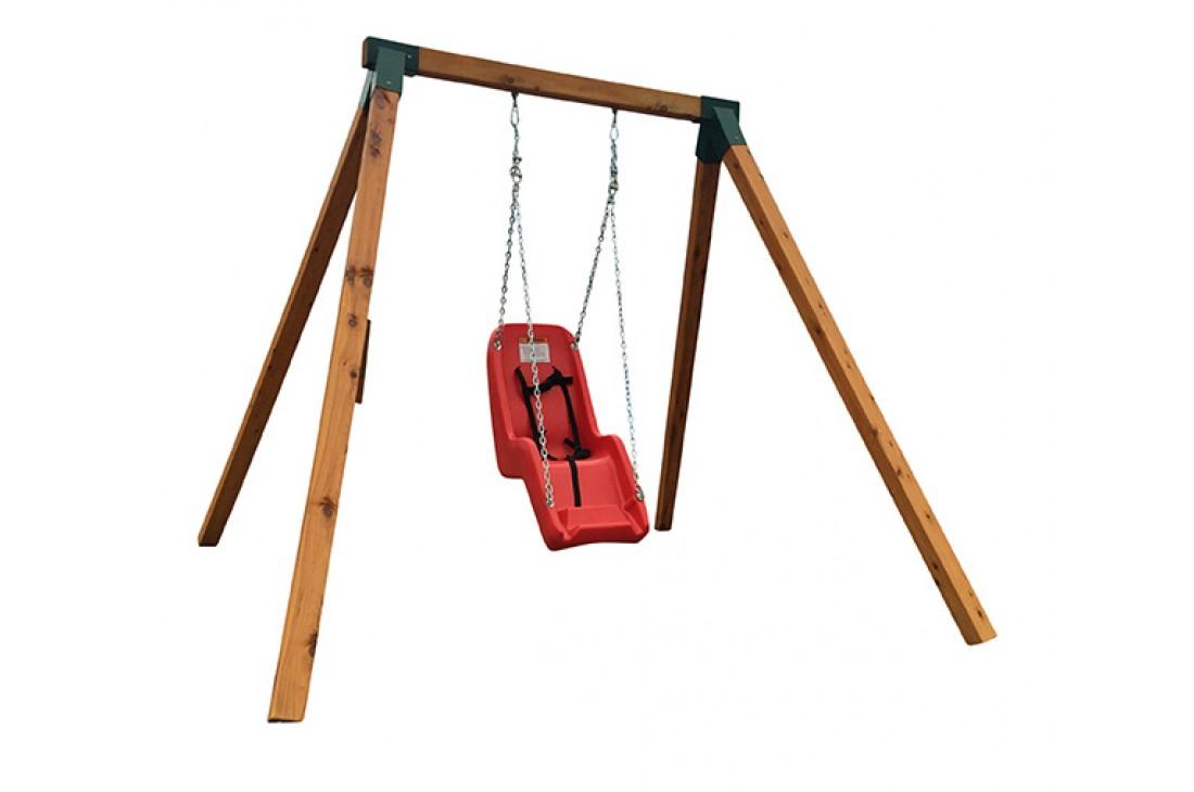 Single Swing Set - Free Standing - Oblique Corners GREEN