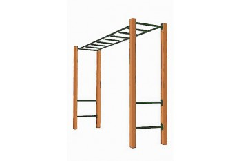 Monkey Bars With Step Rails & Cypress Posts GREEN
