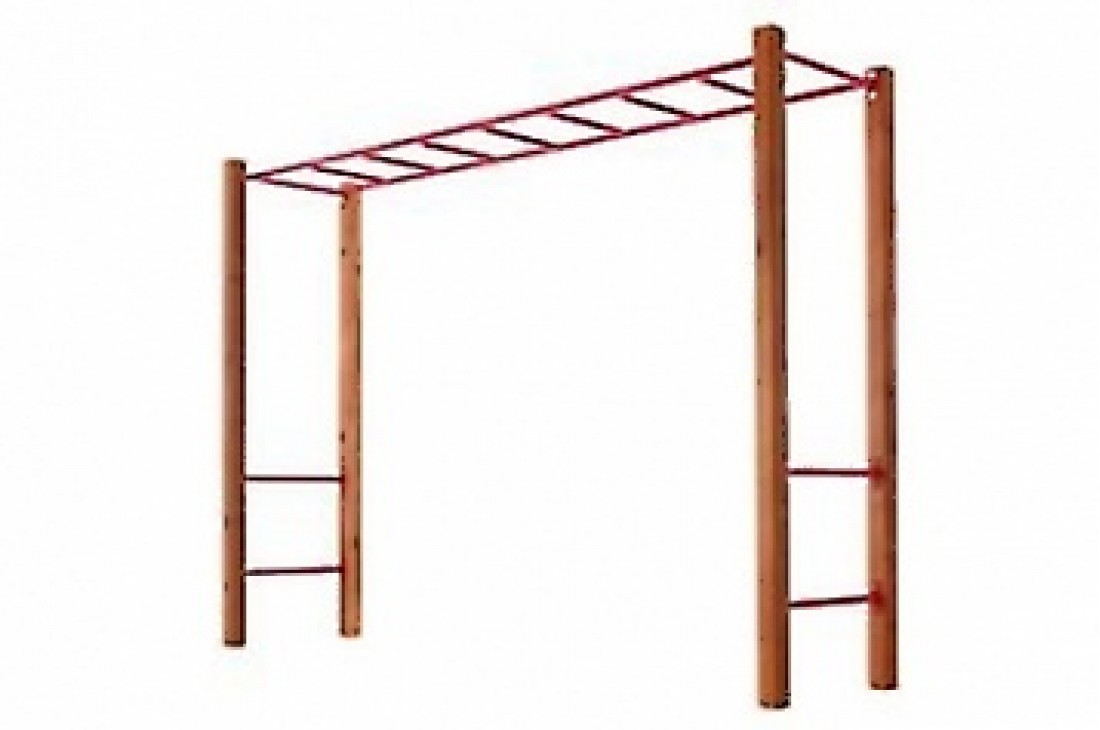 Monkey Bars RED With Step Rails And Cypress Posts