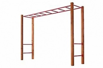 Monkey Bars with Step Rails And Cypress Posts RED