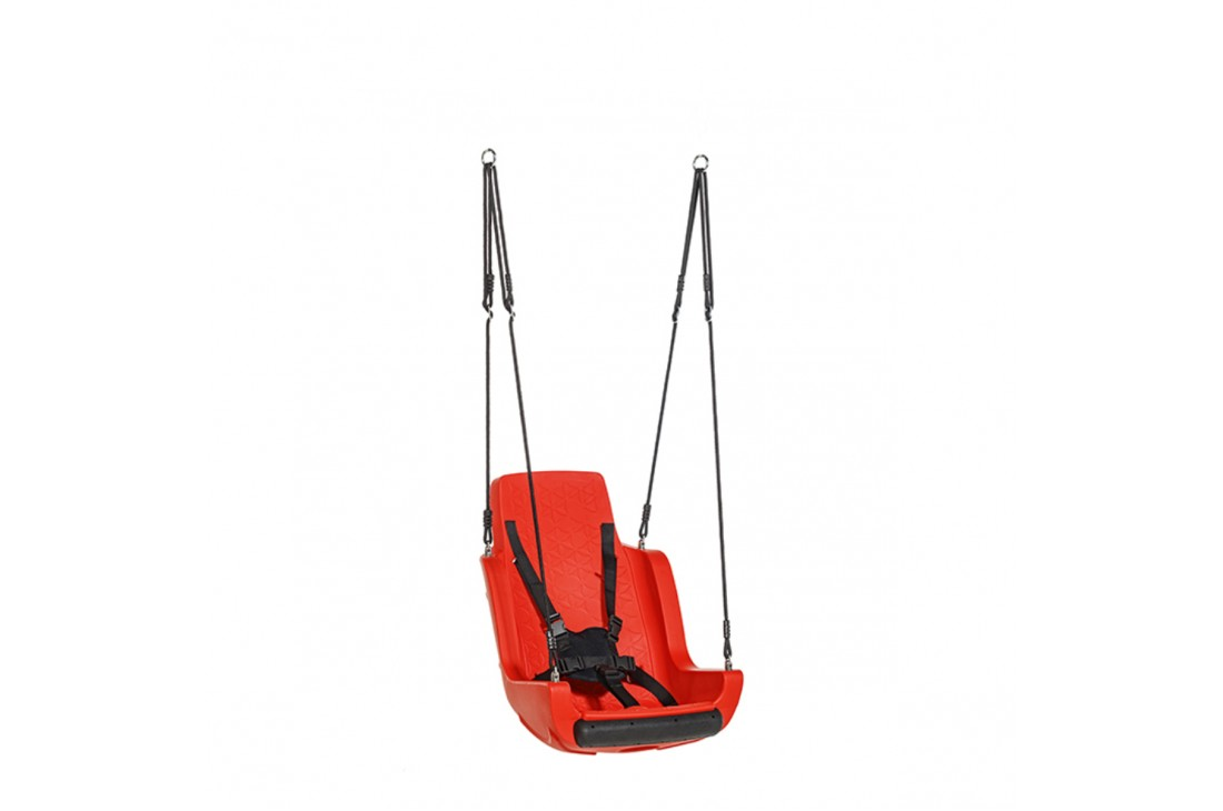 Special Needs Adaptive Disability Swing Seat with Ropeset and Safety Harness Red
